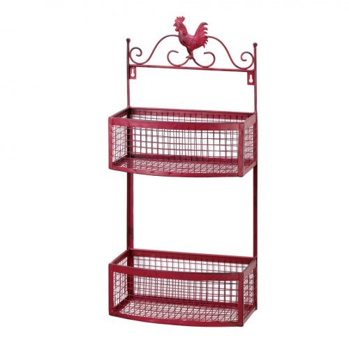 Red rooster double wall baskets.  the rooster sits on scroll work a top of the two baskest below.