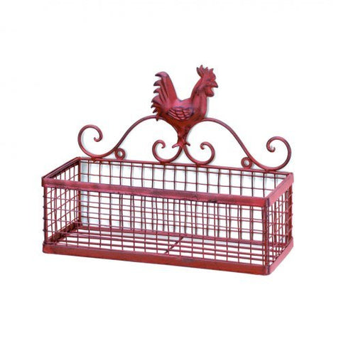 Red rooster single wall basket.  Red rooster in scroll work sitting a top of a single basket.