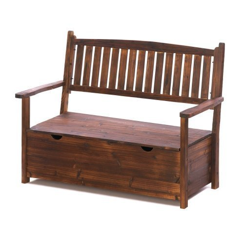 Outdoor garden bench with storage on a white background.