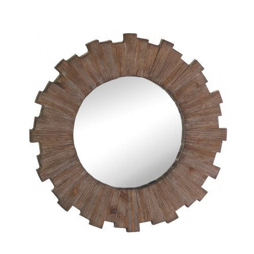 weathered brown wooden mirror