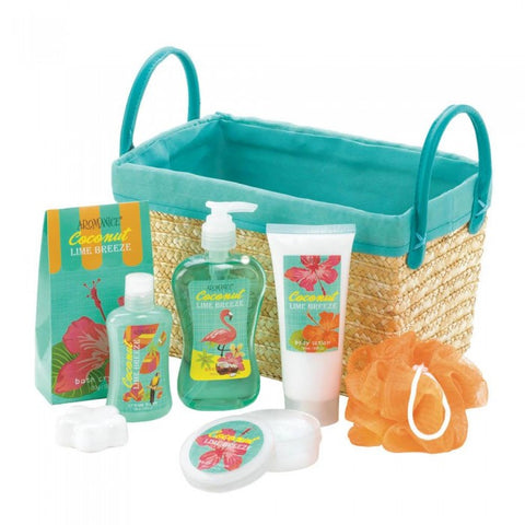 teal  and straw spa basket with the contents out, lime green and orange bath products.