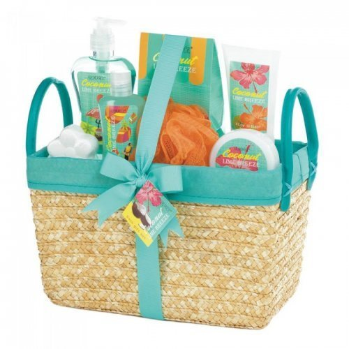 Teal and straw spa basket with the products inside of the basket. orange and lime green colored products