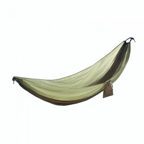green camping hammock on a white background.