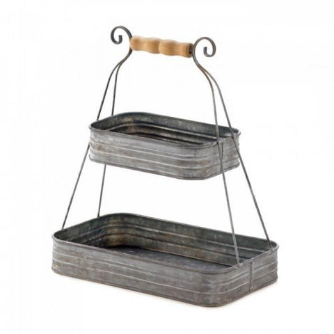 "Hanging metal tins with a wooden handle hanger. Very country ""chic""."