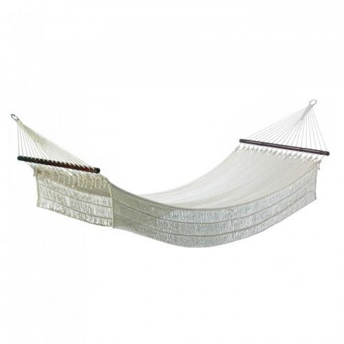 White rope hammock on a white background.
