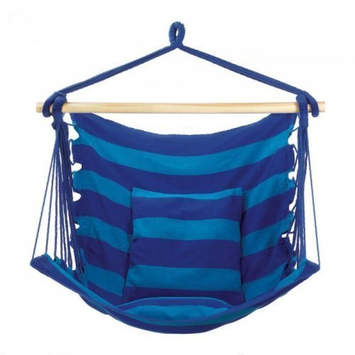 A blue striped hammock chair on a white background.