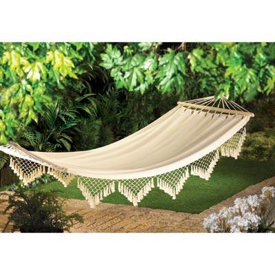 Canvas hammock in an outdoor setting.