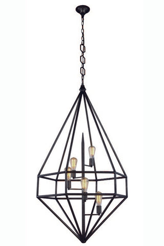 "Marquis Collection Pendant Lamp (D:30"" H:52"" Lt:5) ~Aged Iron Finish"