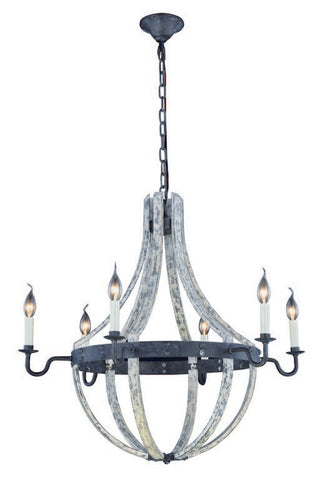 "Woodland Collection Pendant Lamp (D:31"" H:31"" Lt:6) ~ Ivory wash & Steel grey Finish"