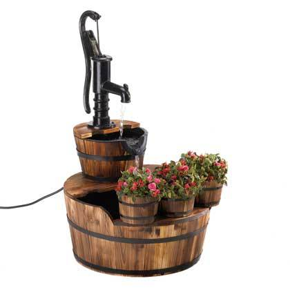 Old Fashioned Rustic Water Pump Barrel Fountain