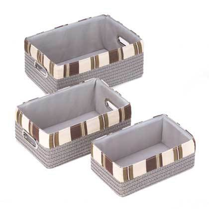 A set of three gray baskets with alternating brown and tan block pattern top border.