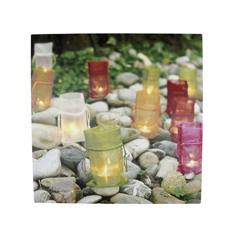 LED Lighted Flickering Garden Party Colorful Candle Bags Canvas Wall Art 11.75