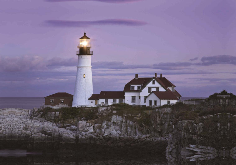LED Lighted Coastal Lighthouse Home with Purple Sunset Canvas Wall Art 15.75