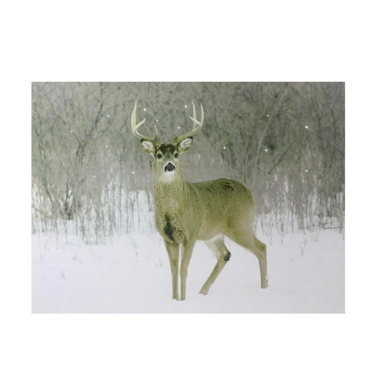 Fiber Optic Lighted Majestic Buck Canvas Wall Art 12