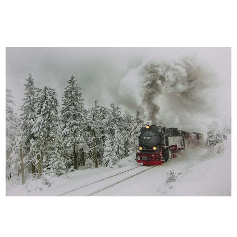 Large Fiber Optic and LED Lighted Winter Woods with Train Canvas Wall Art 23.5