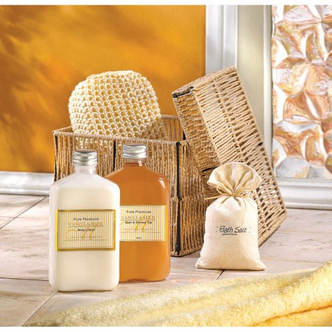 light brown woven basket with orange and white products out in a bathroom setting.