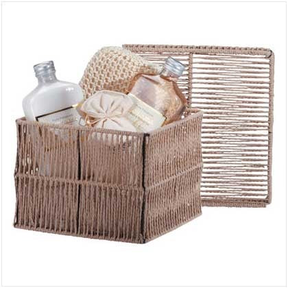 light brown woven basket with spa products inside of the basket.