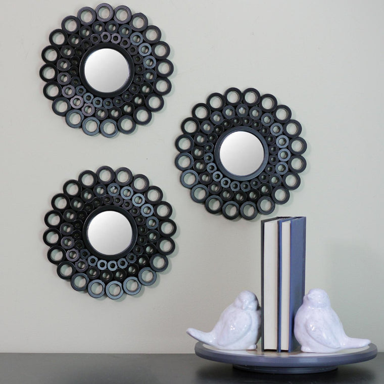 Set of 3 Cascading Angular Orbs Matte Black Decorative Round Mirrors 9.5