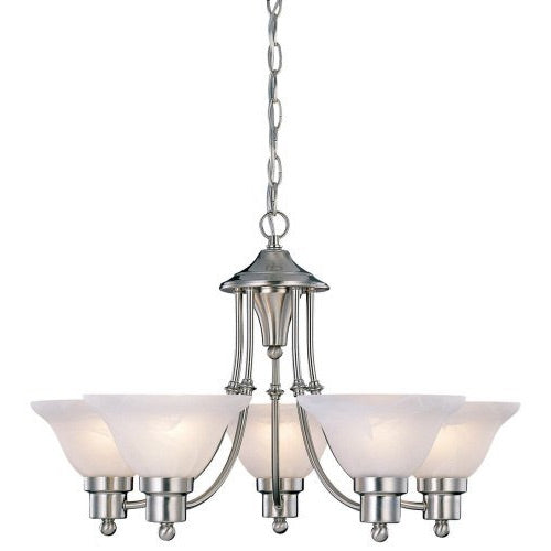 Enhance your decor with this beautiful 5-Light Brushed Nickel Chandelier with White Frosted Shades. The alabaster glass in this chandelier Simply brings a cozy warmth to any room! Five 60-watt bulbs are required. These are not included with the chandelier. This Chandelier installs like the others in the line-up. The Chandelier comes with a bracket to mount into the ceiling box(not included) and is hard wired in.It also has a trim plate that matches the light fixture to cover the ceiling box.