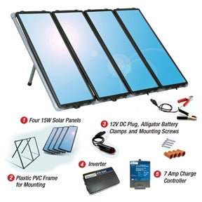 This 60-Watt Solar Panel Charging Kit with Charge Controller & Inverter gives you several more reasons to love the sun. It provides the power you need, while helping you save money and protect the environment. This kit is ideal for cabins, recreational vehicles, remote power, back-up power, and 12-volt battery charging. It comes with everything you need to start producing up to 60 Watts/4 Amps of clean, free power in all weather conditions. The whole system described.