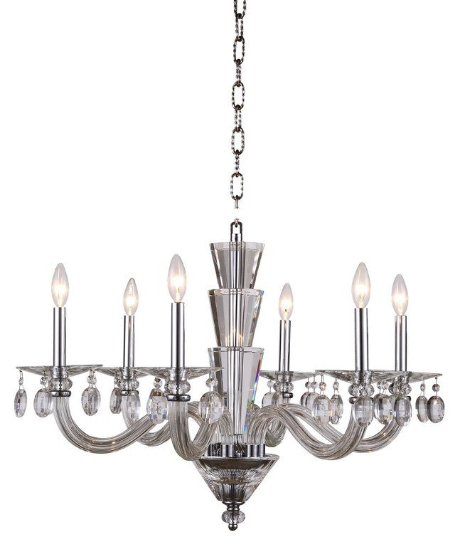 Augusta Collection Pendant Lamp 6 Light 29.5 Inches In Chrome Finish