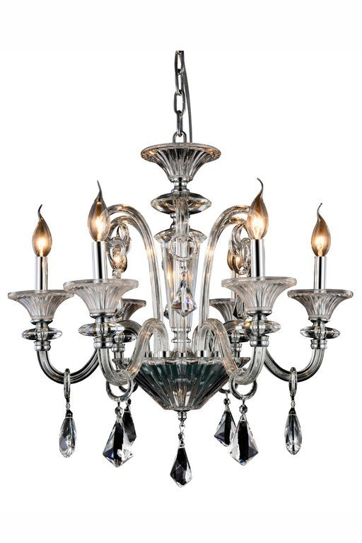 Aurora Collection Pendant Lamp 6 Light and 24 Inch In Chrome Finish
