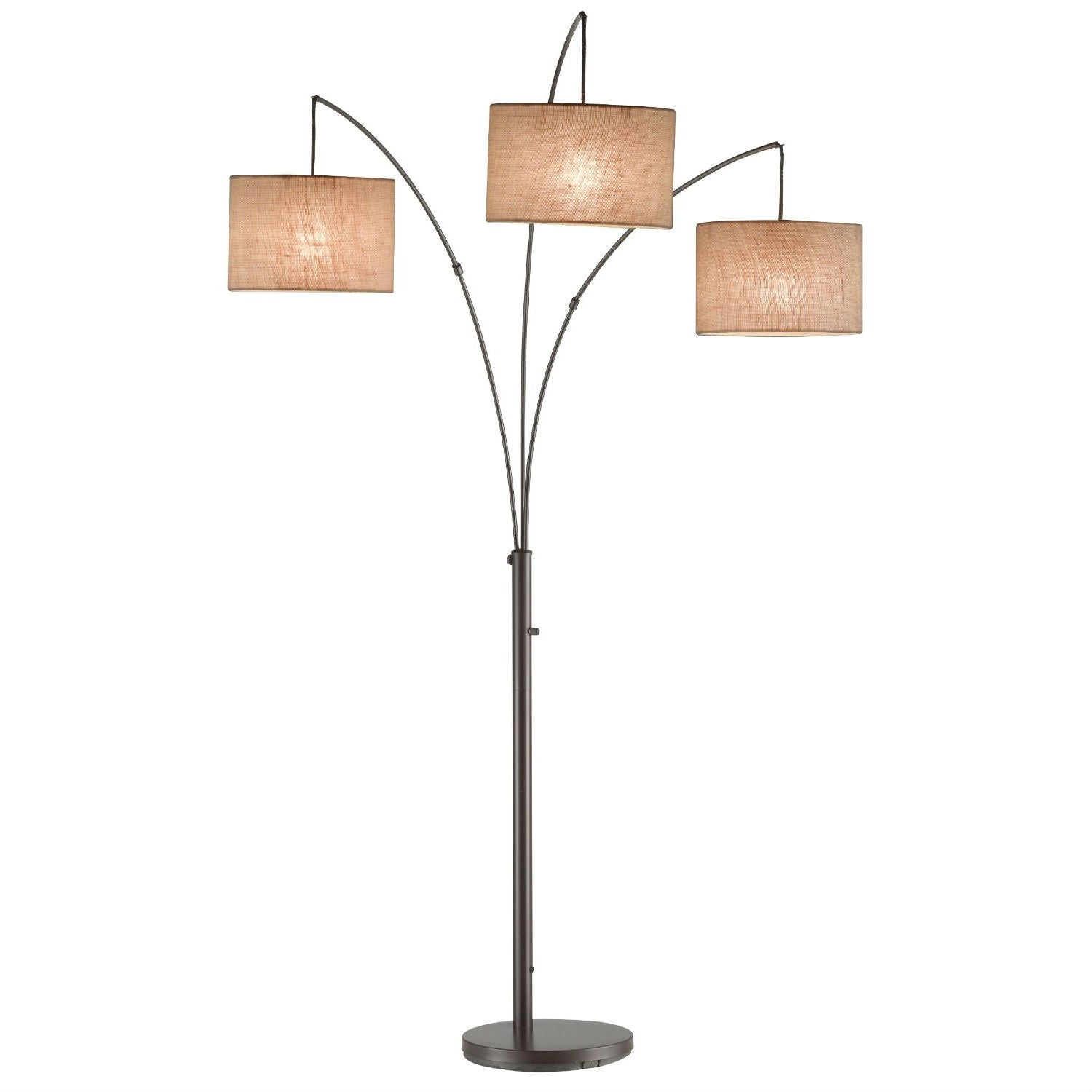 Bronze floor lamp with three different branches to lights with round drum shades on them.