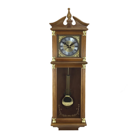 "Bedford Clock Collection 34.5"" Antique Chiming Wall Clock with Roman Numerals"