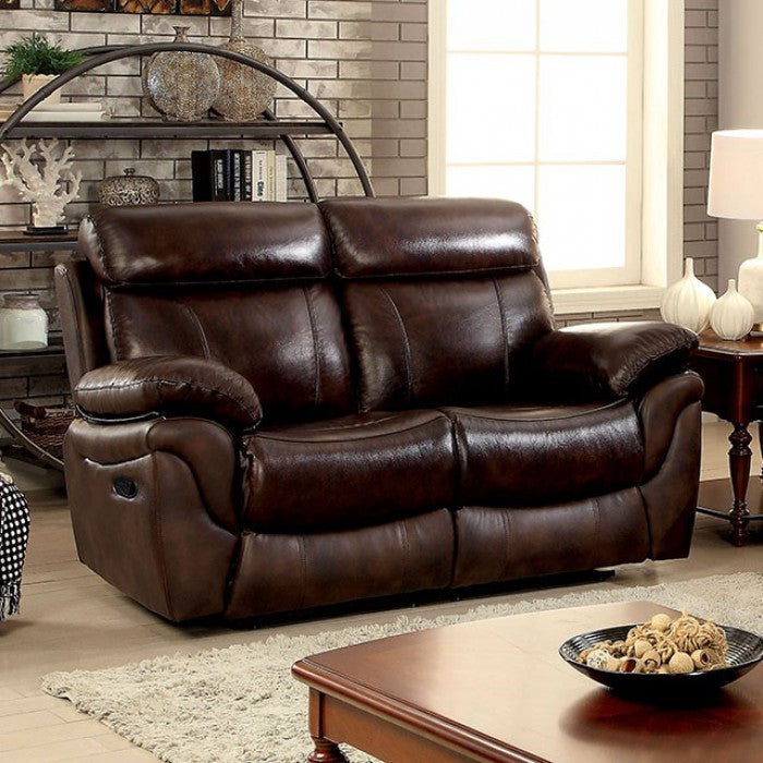 Kinsley Leatherette Transitional Style Love Seat, Brown