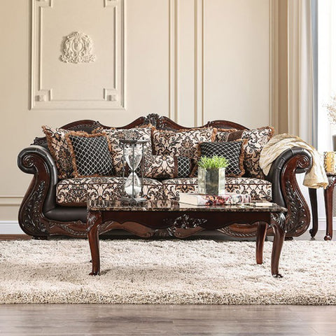 Jamael Opulent Classy Sofa Traditional Style in Brown