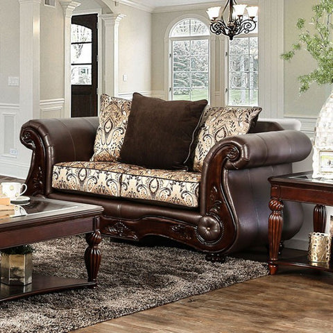 Alessio Two -Seater Cushiony Love Seat Traditional Style, Brown