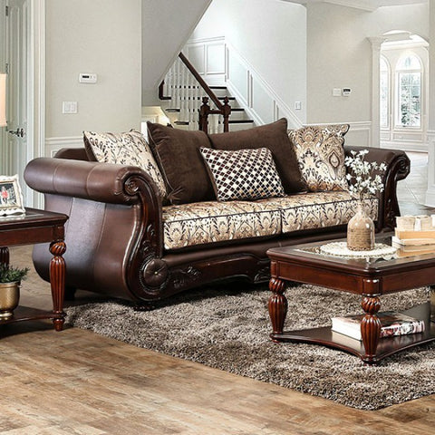 Alessio Two -Seater Cushiony Sofa Traditional Style, Brown