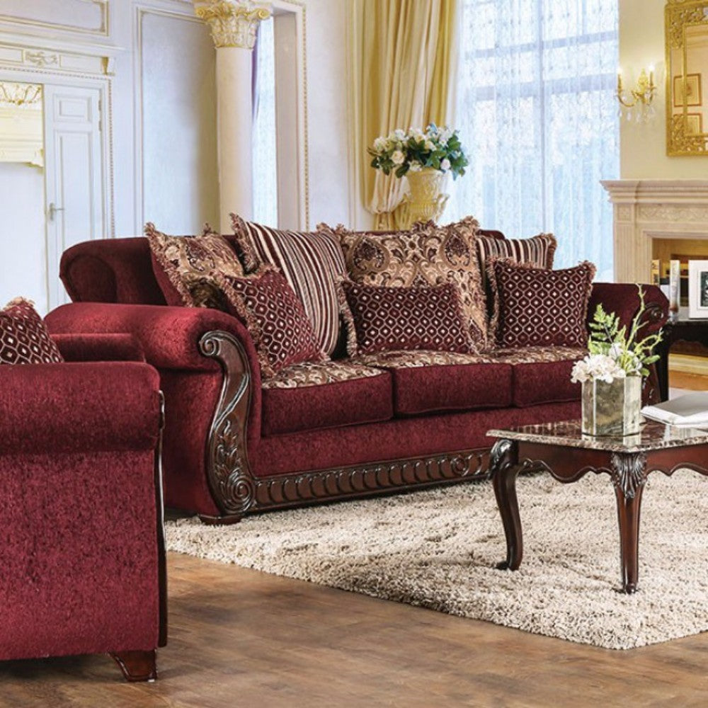Tabitha Traditional Style Fabric & Leatherette Sofa, Wine