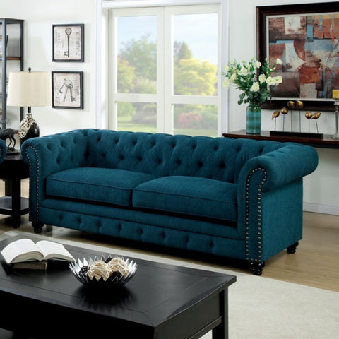 Stanford Traditional Style Sofa With Nail Trim, Blue