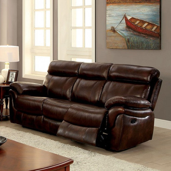 Kinsley Leatherette Transitional Style Sofa, Brown