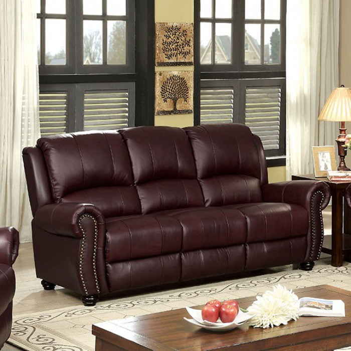 Turton Transitional Bun Feet Sofa, Burgundy