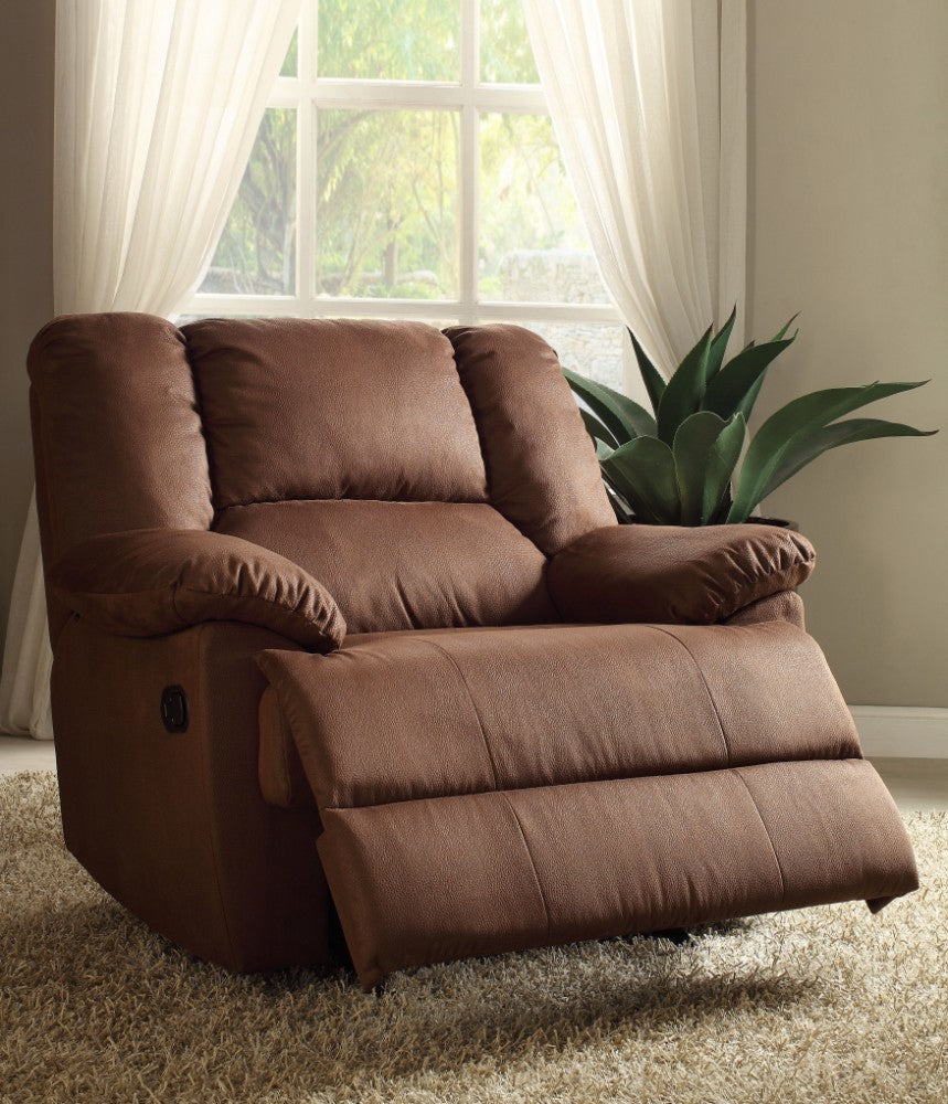 Oliver Oversized Glider Recliner, Dark Brown Nubuck