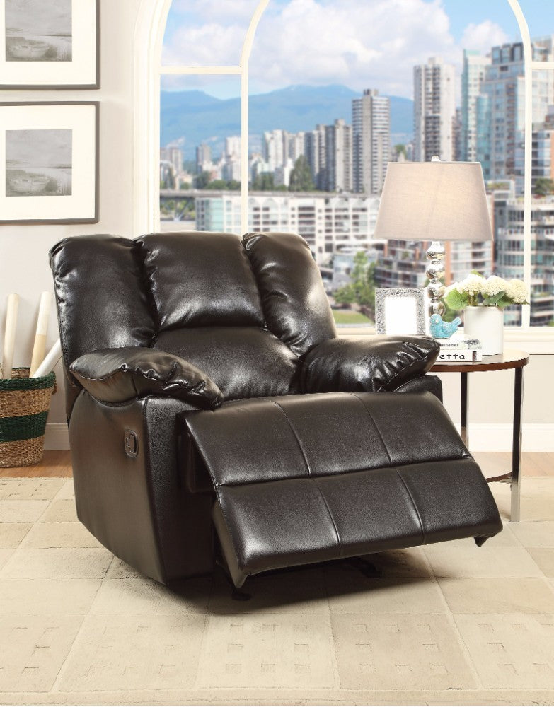 Oliver Glider Recliner, Black Leather-Aire