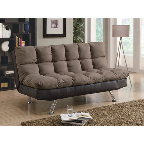 Contemporary Style Relaxing Sofa Bed, Brown