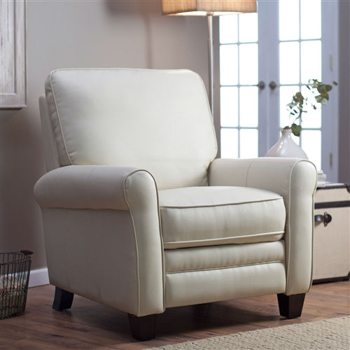 Cream colored recliner in a living room setting with the leg rest down.