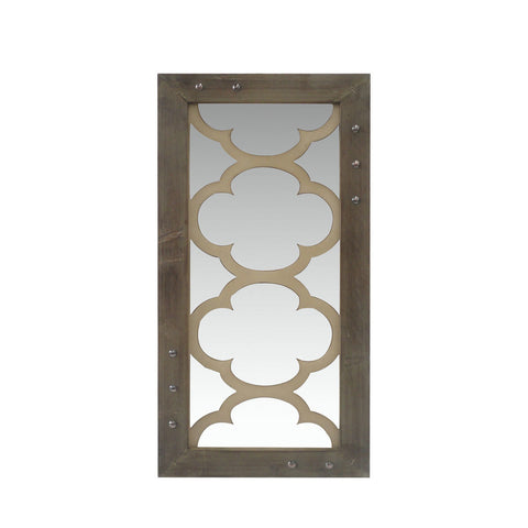 This rectangular wooden frame is uniquely crafted with wooden pieces neighboring the center mirror giving a distressed look to the interiors. Add class and style to your home Simply with this mirror by Urban Port!