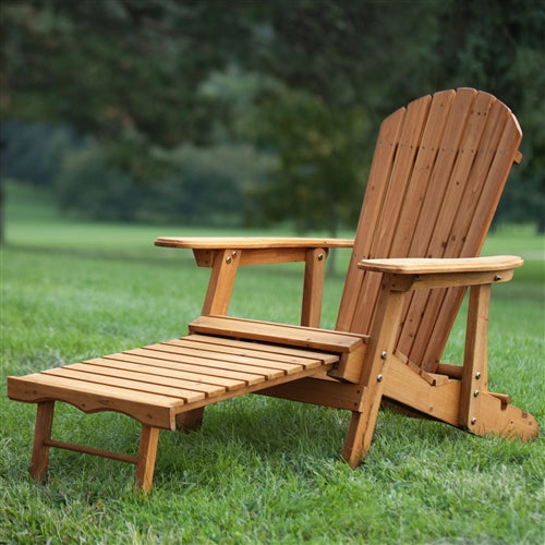 Natural fir adirondack chair in an outdoor environment.