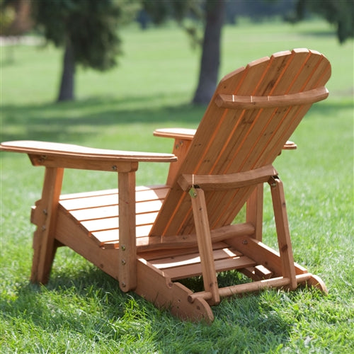 rear view of a natural adirondack chair in an outdoor environment.