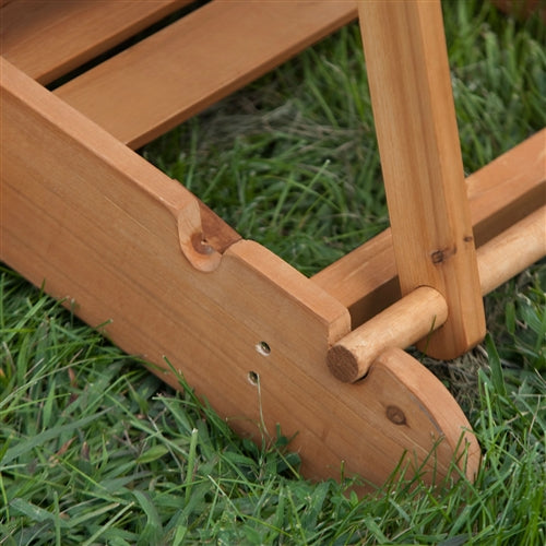 Adirondack chair height adjustment detail.