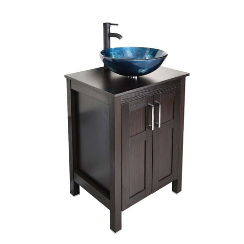 brown espresso vanity with a blue glass bowl sink on top.