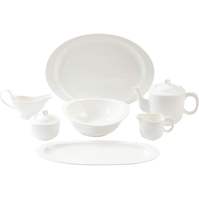 All white table serving set.