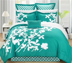 Turquoise 7-Piece Floral Bed in a Bag Comforter Set – Simply ...