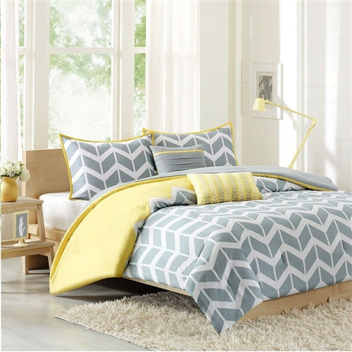 Chevron Stripes Comforter Set in Gray White Yellow – Simply ...