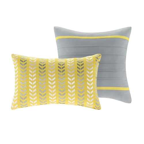 Chevron Stripes Comforter Set in Gray White Yellow