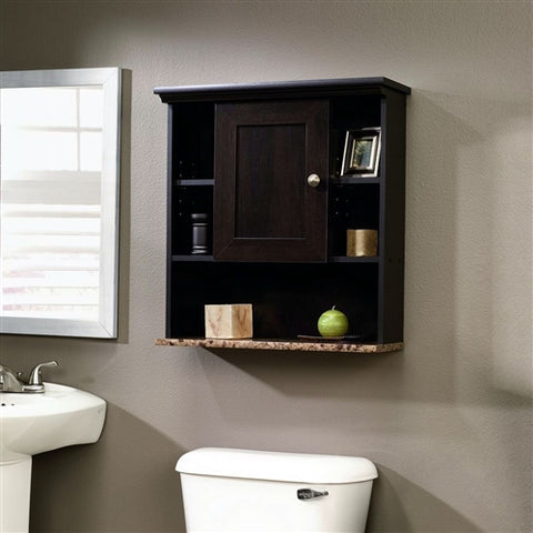 Wall mounted storage bathroom cabinet. This Bathroom Wall Cabinet with 3 Adjustable Shelves in Cinnamon Cherry Wood Finish has an adjustable shelf behind frame and panel door. Cubbyhole storage features two adjustable shelves. Reversible door opens left or right. Lower shelf with faux granite finish features Ever Sheen top-coat which provides clear, durable finish that resists heat, stains and scratches. This unit is perfect for storing those extra bathroom essentials!
